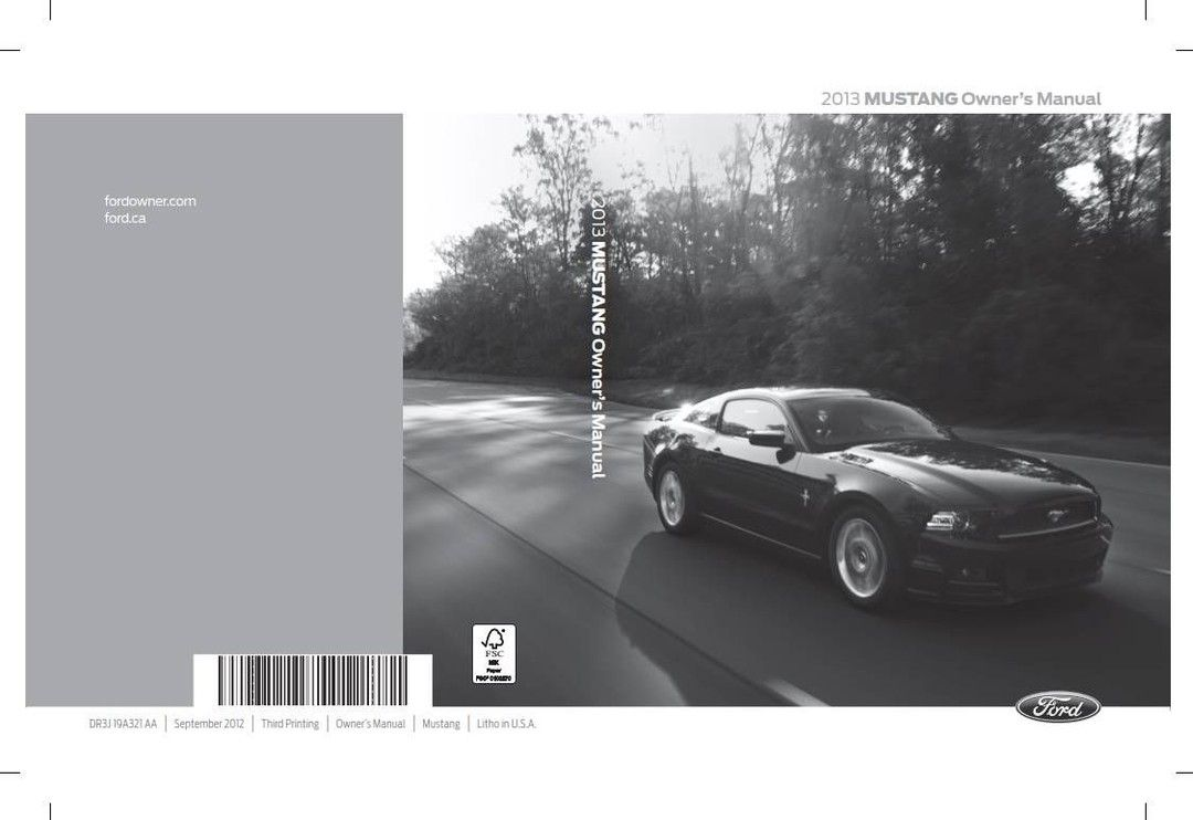Ford Mustang 2013 Owner S Manual In 2020 Ford Mustang Owners Manuals Mustang