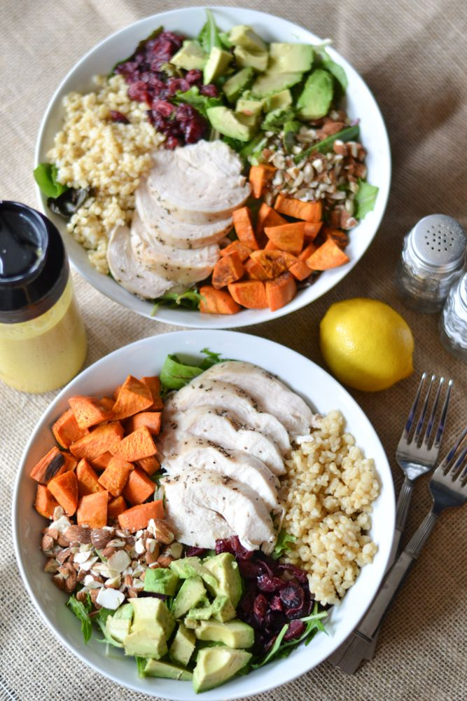 Chicken and Rice Salad Bowls with Tumeric Tahini Dressing