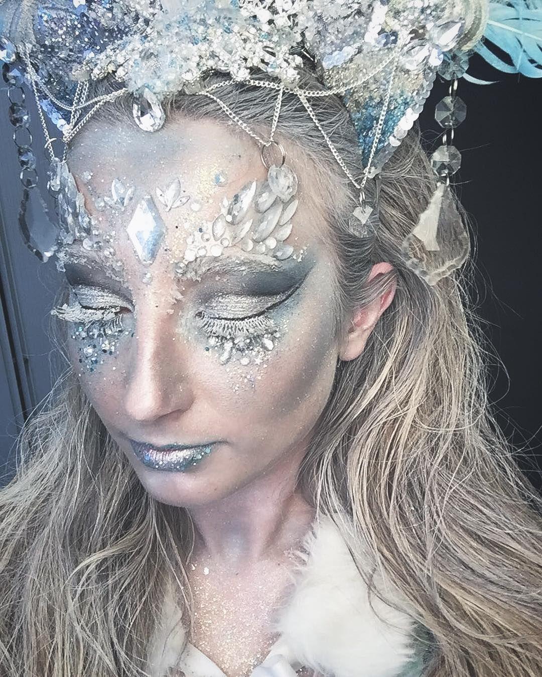 Ice Queen Model Gabrielalpr Makeup Headdress By Me Gypsyshrine Jewels Ice Queen Makeup Snow Queen Makeup Queen Makeup