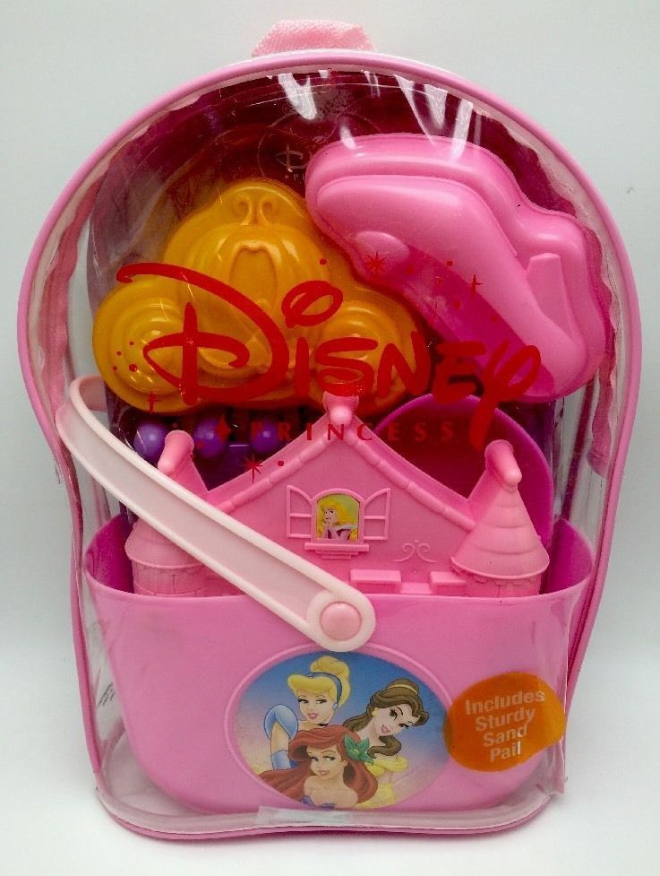 89a0efe6bc9 Disney Princess Beach Toys Set Sand Pail in a Clear Backpack New ...