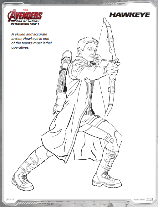 HawkEye Avengers Age Of Ultron Free Coloring Page Printable