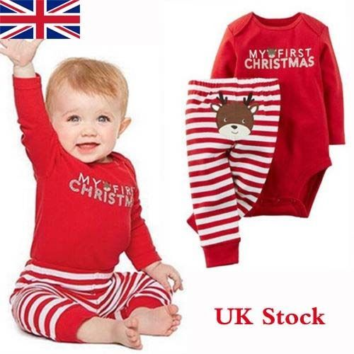 f2071df146e Newborn Baby Girl Boy First Christmas Romper Tops Long Pants Outfits Set  Clothes