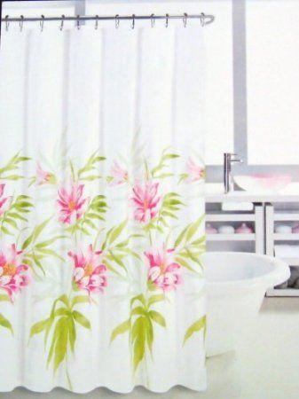 Amazon.com: Hillcrest Fabric Shower Curtain Tropical Floral Print ...