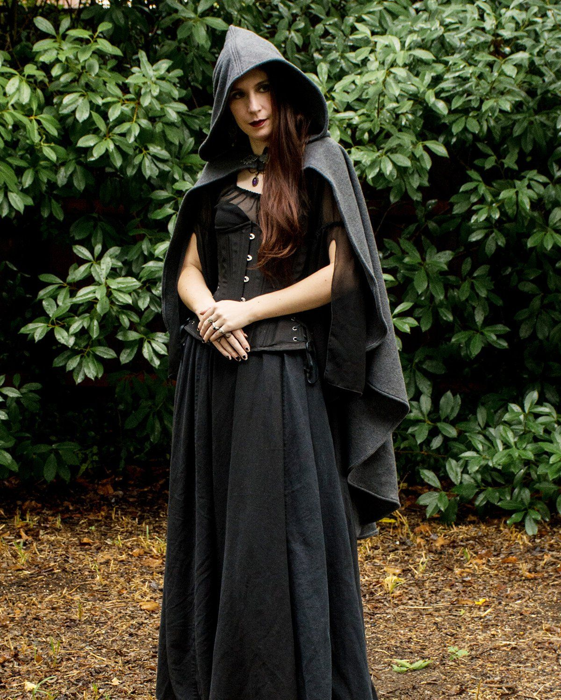 Black Medieval Cloak Cape Adult Womens Female Game of Thrones Renaissance