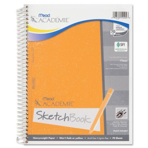 Mead Académie Spiral Sketchbook / Sketch Pad, Heavyweight Paper, 70 Sheets, 11 x 8.5 Inch Sheet Size (54404)
