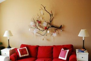 New Year's Branch Decor | Tourist of Life. Haha, will Noel let me hang an entire branch on the wall?