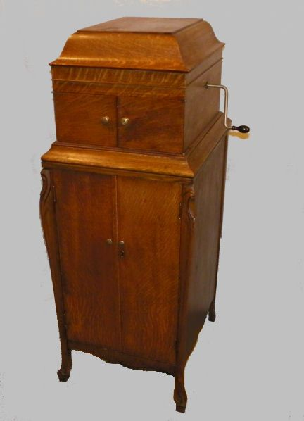 Victrola Phonograph Player on Oak Record Cabinet Record Cabinet, The Cabinet,  Phonograph, Talking - Antique Victor Phonograph Player On Oak Record Cabinet OLD RADIOS