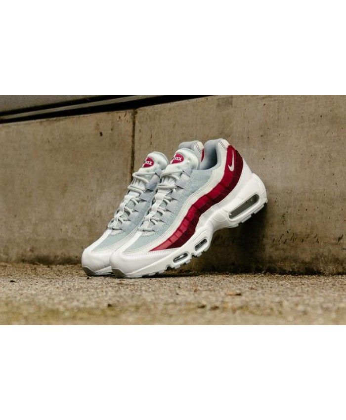 382dee4af8 Nike Air Max 95 Essential White Wolf Grey Pure Platinum Team Red Trainer