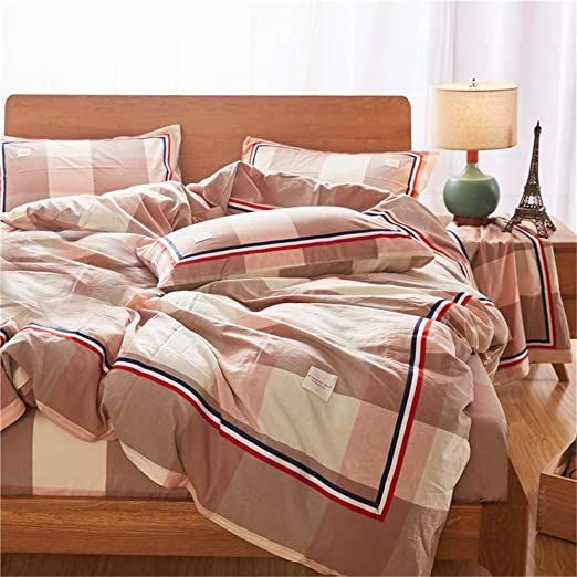 Photo of ROBDAE Bedding Sets Four Sets Bedding Linen Set Pillowcase Washed Simple Cotton …