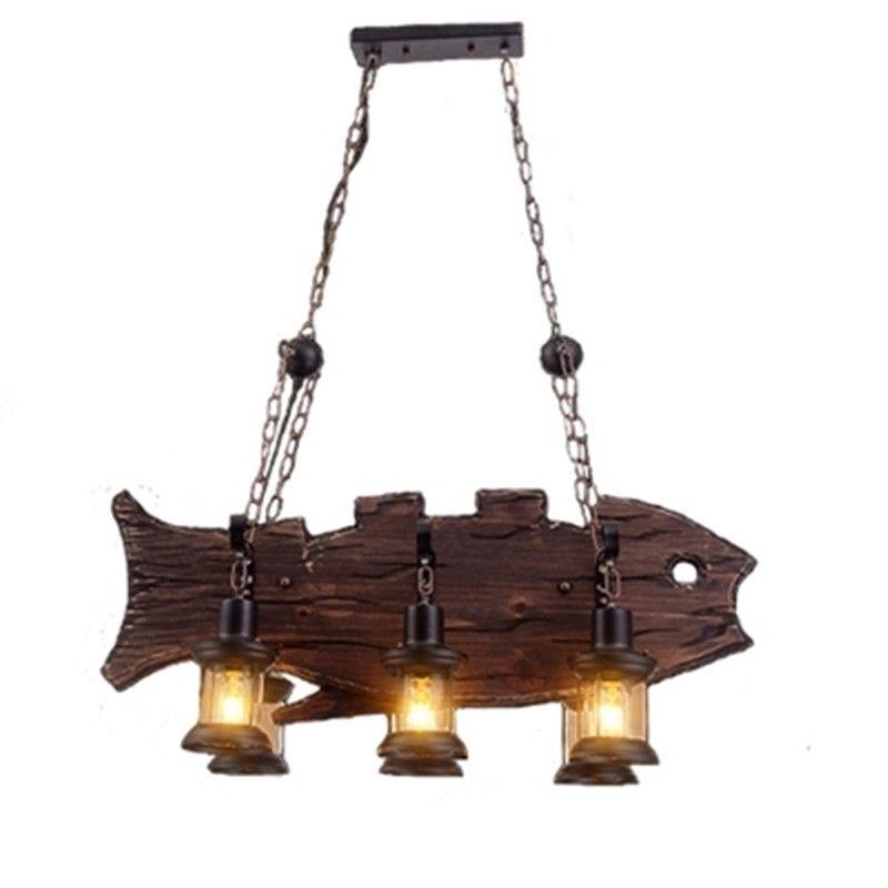 6 Lamps Chandelier LOFT Vintage Wood Fish Shape Decorative Industrial Hanging Light Indoor Lights