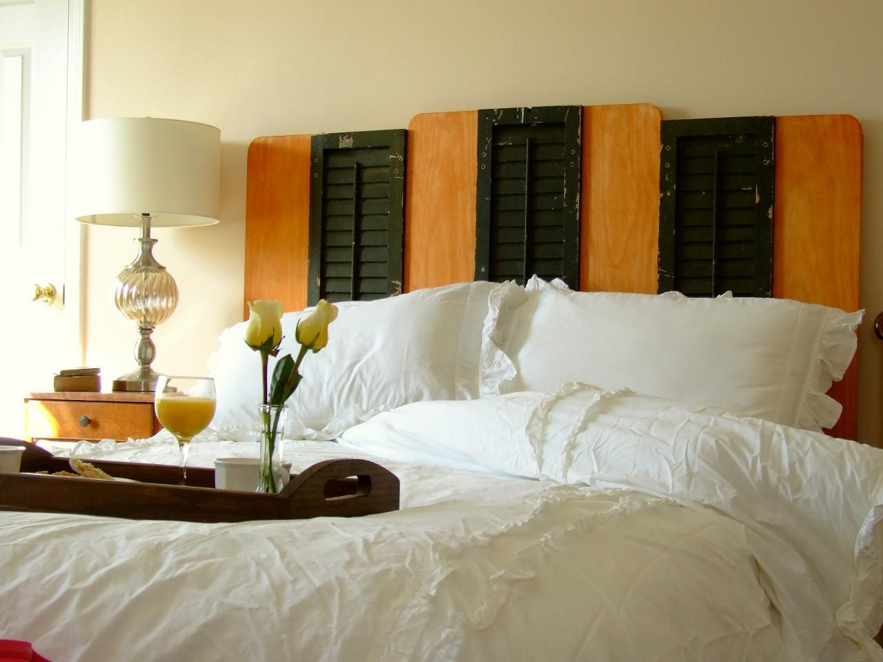 Old window over bed  how to make a headboard from upcycled shutters  headboards