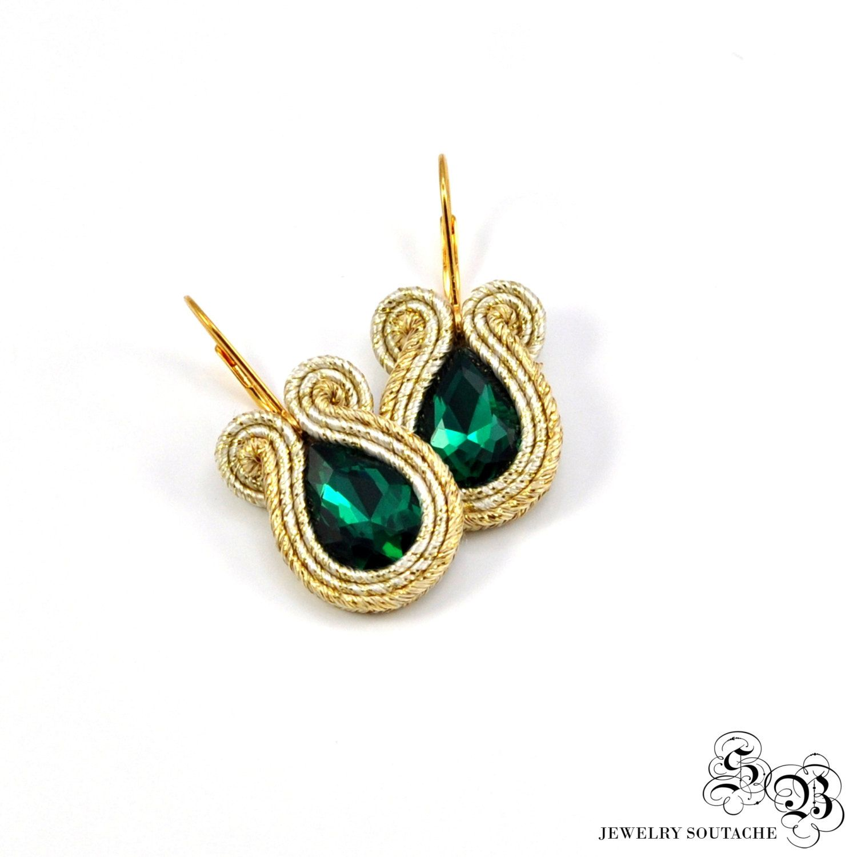 Small Gold Green Soutache Earrings, Gold Soutache Earrings, Gold Dangle  Earrings, Small Earrings