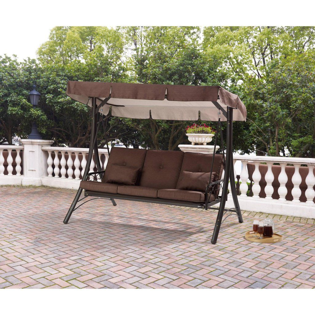 Brown 3 Seat Converting Outdoor Patio Swing Hammock With Canopy Sun Sh Vick S Great Deals