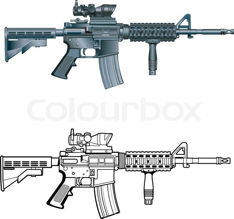Military guns · image result for m4 assault rifle drawing