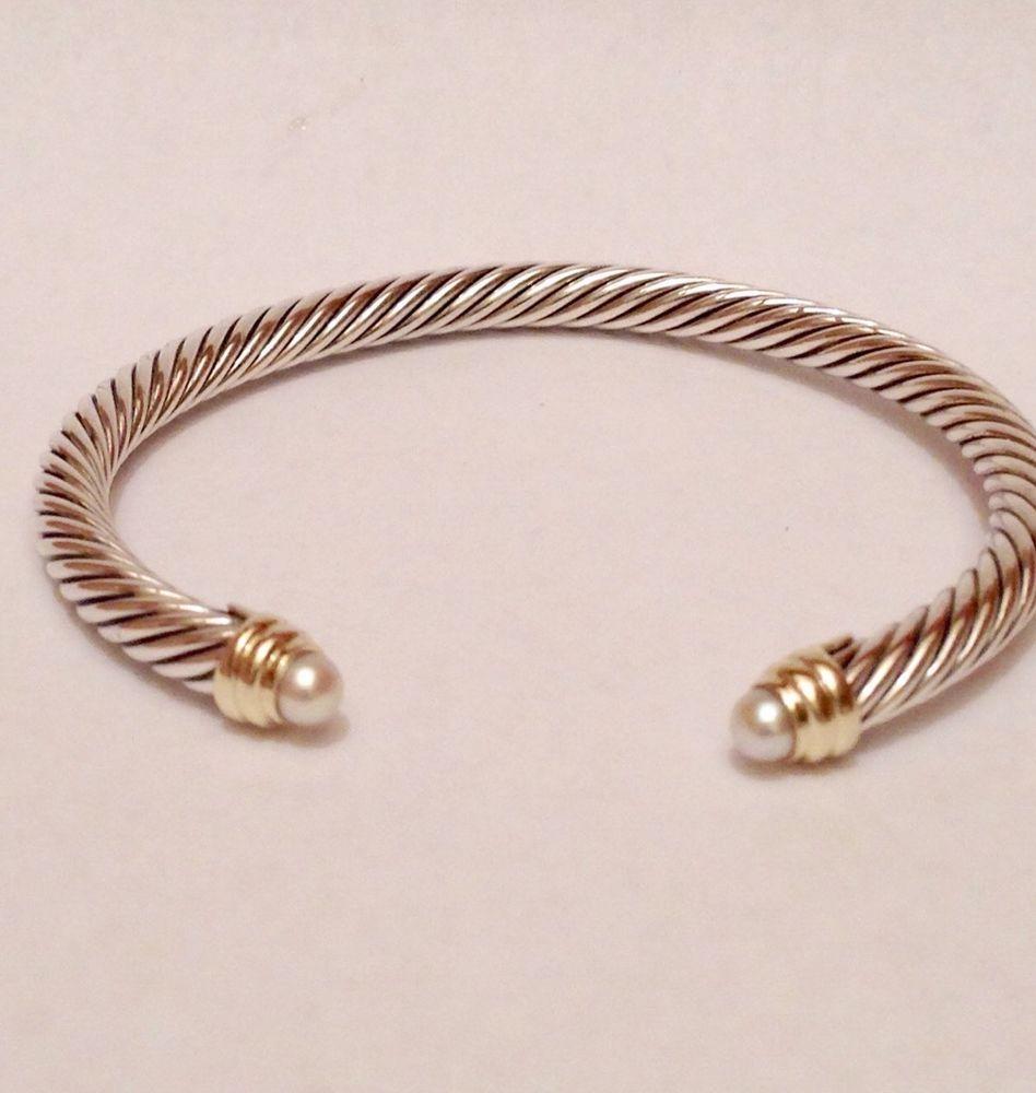 David Yurman Sterling Silver 14k 5mm Classic Cable Pearl Bracelet