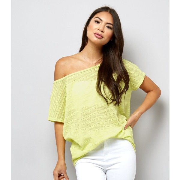 New Look Light Green Off the Shoulder Top (€14) ❤ liked on Polyvore featuring tops