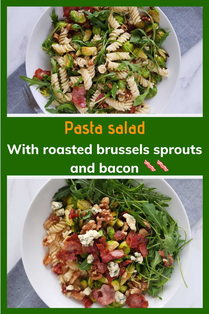 This healthy and filling salad recipe is perfect for meal prep or an easy meal. Pasta salad with roasted brussels sprouts and bacon is packed with flavour, fiber, healthy fats and vegetables. The walnuts and blue cheese brings the dish to a new level! #pastasalad #brusselssprouts #baconsalad #walnuts #stilton #bluecheese #easy #healthy #lunch #mealprep #wholesome #satiating #filling #kidfriendly #worklunch