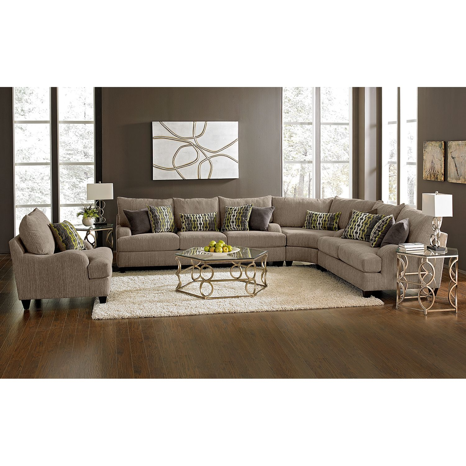 Santa monica ii upholstery 3 pc sectional value city furniture basement living roomsliving room