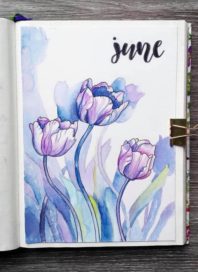 Beautiful Watercolor June Bullet Journal Cover By Ig Mathusbujo