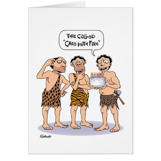 Funny Cavemen Birthday Card