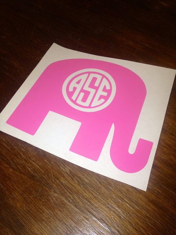Buy Two Get One Free Republican Elephant Monogram Car Decal - Elephant monogram car decal