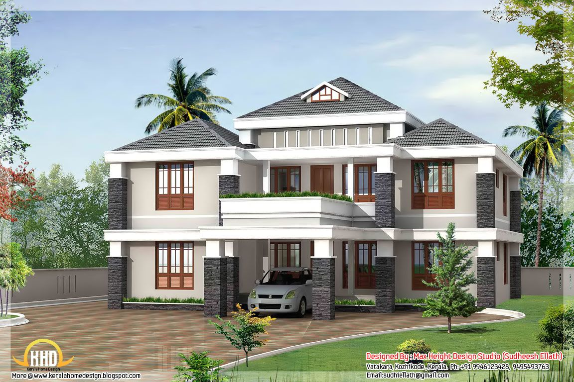 Designer homes kerala house designs philippines design - Exterior paint calculator square feet model ...
