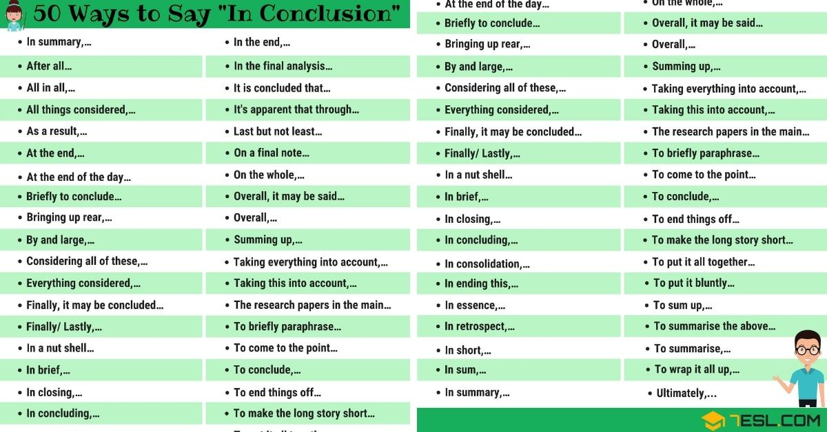 In Conclusion Synonym: 50 Other Ways to Say IN CONCLUSION