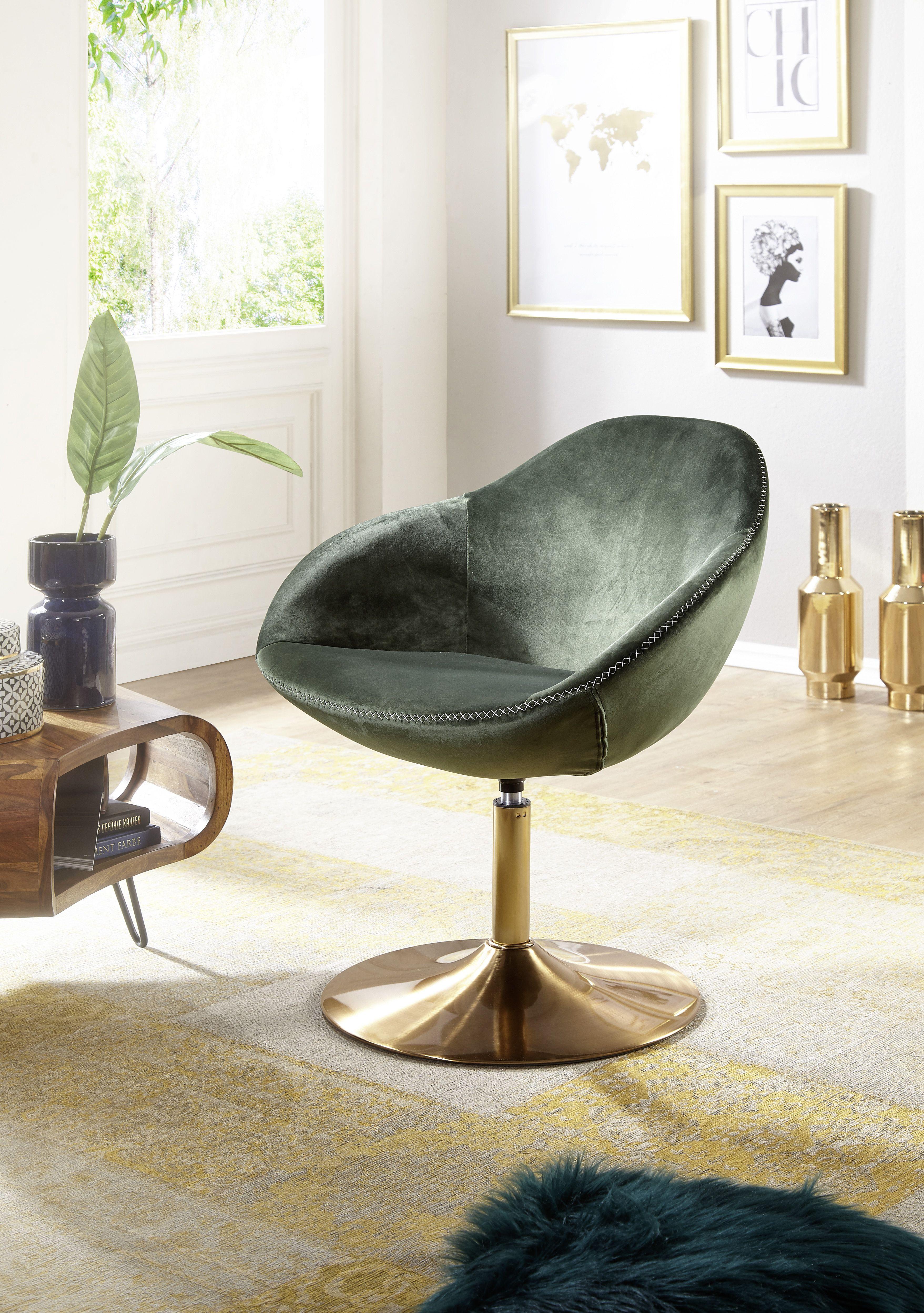 Wohnling Loungesessel Sarin Grun Gold Wl5 921 Aus Samt Und