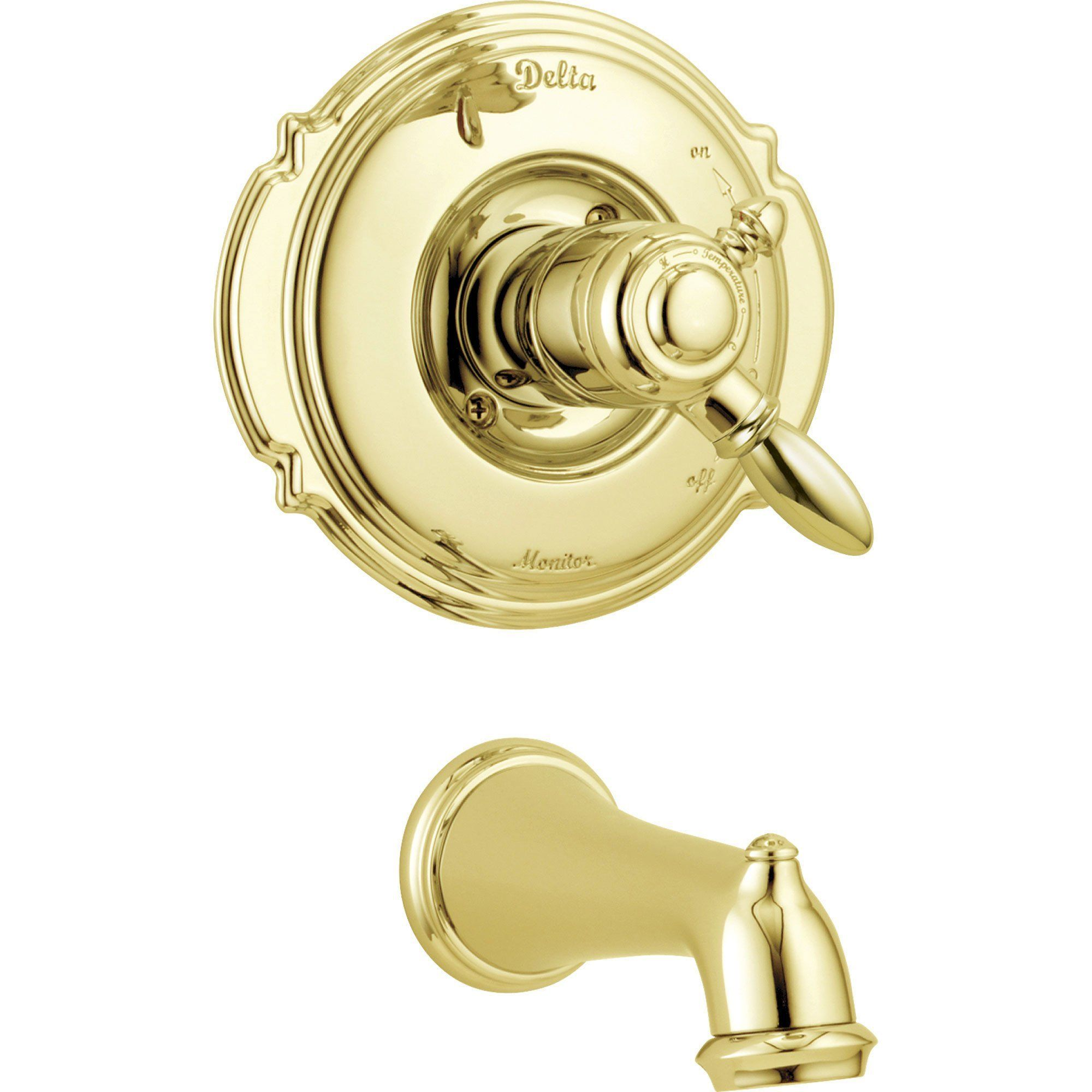 Delta Victorian Polished Brass Temp Volume Control Tub Filler With Valve D219v In 2021 Polished Brass Tub Spout Tub Filler Delta polished brass bathroom faucets
