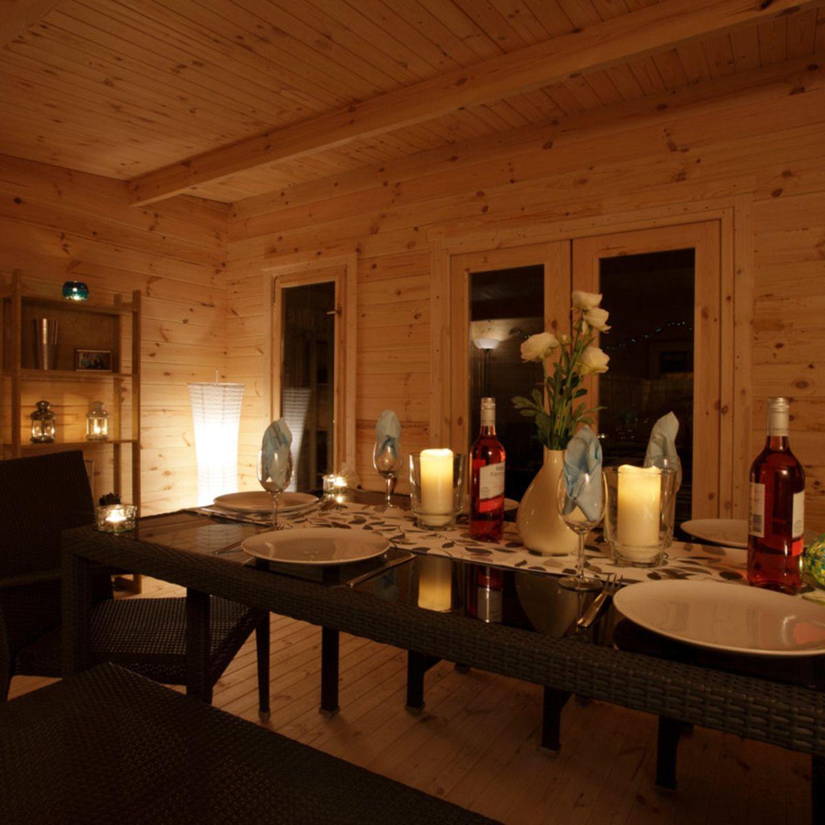 Installed Forest Garden Mendip 44mm Log Cabin 17ft X 13ft 1 5 2 X 4 0 M Costco Uk In 2020 Log Cabin Cabin Interior Lighting