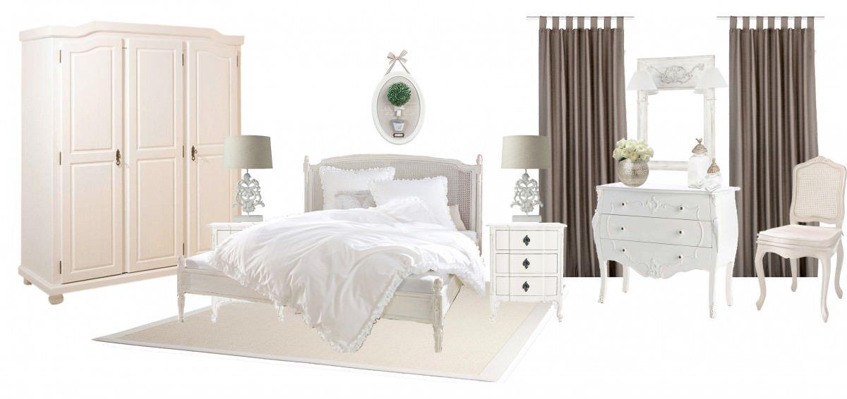 Schlafzimmer Landhausstil - in Taupe  Weiss Mehr davon gibt es - Schlafzimmer Landhausstil Weiß