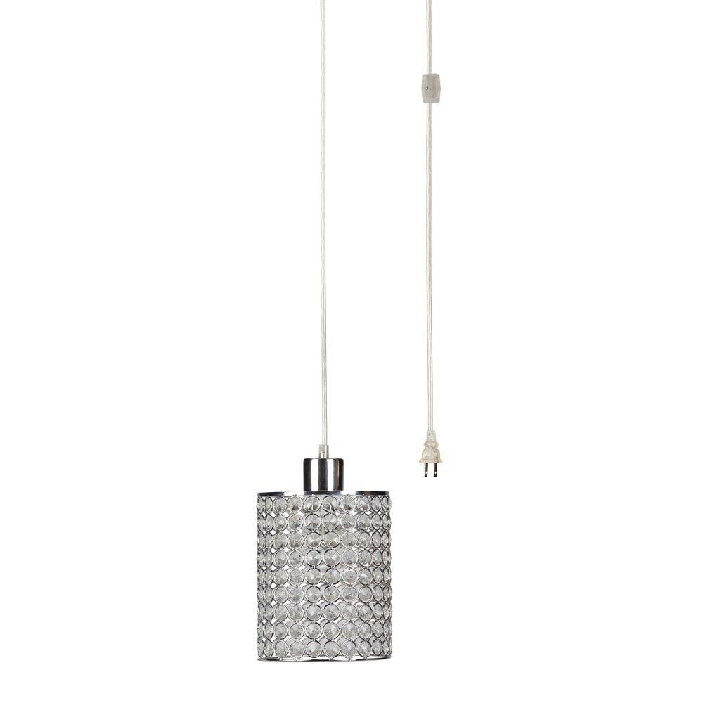 Give Your Dining Room Or Kitchen An Instant Makeover With This Globe  Electric Light Chrome Or Crystal Cylindrical Plug In Clear Cord Pendant  With Shade.