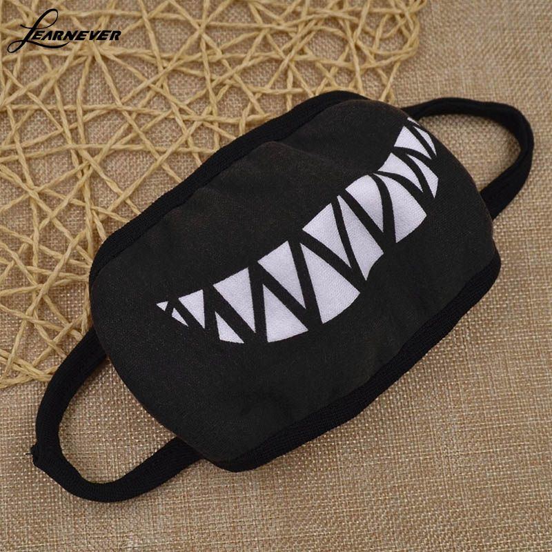 Half Masks To Decorate Alluring 1Pc Cartoon Funny Teeth Black Cotton Black Mouth Mask Fashion Design Inspiration