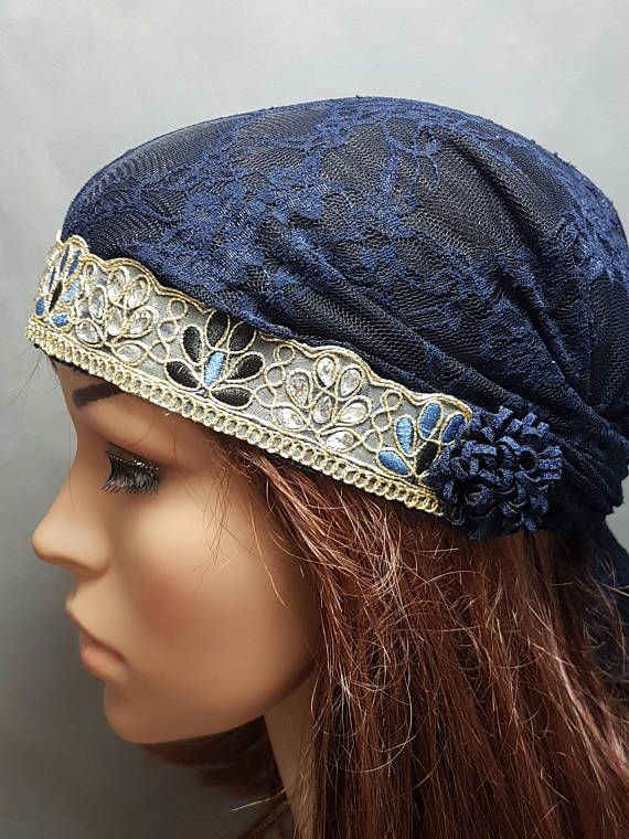 Dark Blue Gold Lace Tichel  a36b73264bd