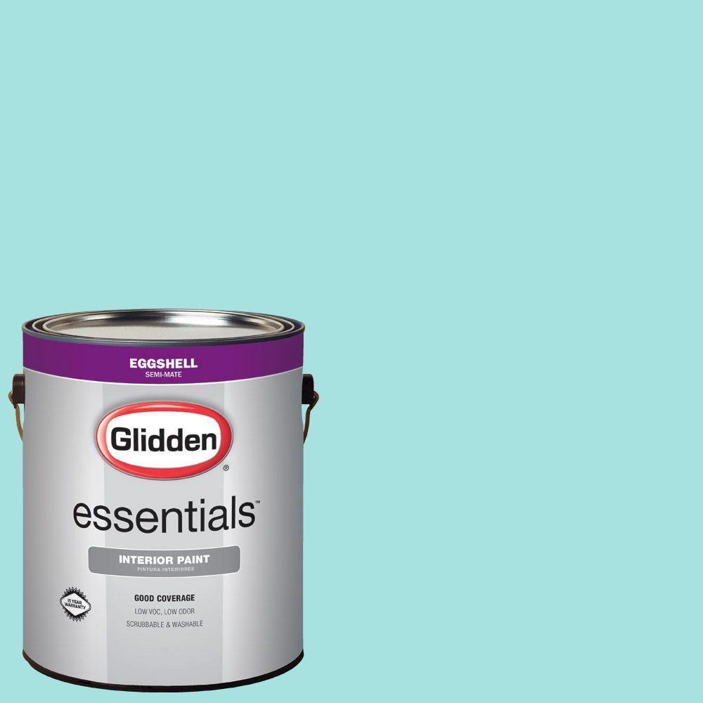 Glidden Essentials 1 Gal Hdgb15u Sea Breeze Teal Eggshell Interior Paint Interior Paint Exterior Paint Flat Interior
