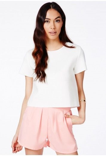 Missguided - Genivee White Neoprene Boxy Top