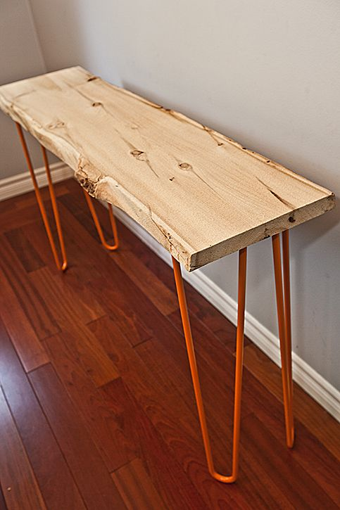Old growth cedar hallway table, made from a a cedar slab we milled from a barn we dismantled, dating back to the 1840's.