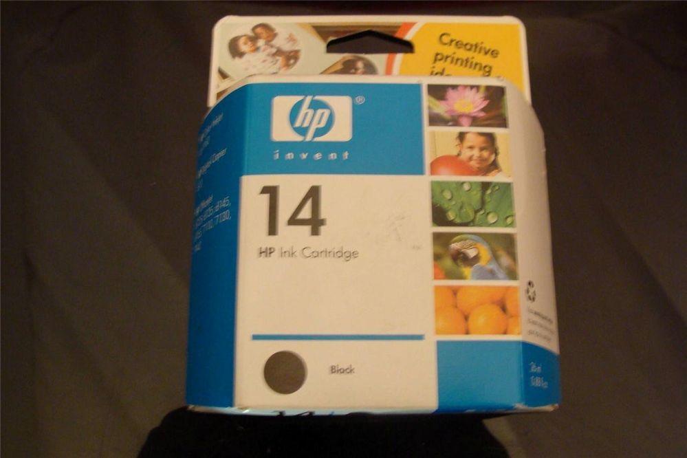 HP 14 Black Ink Cartridge NEW HP Factory Sealed Box Genuine   Original