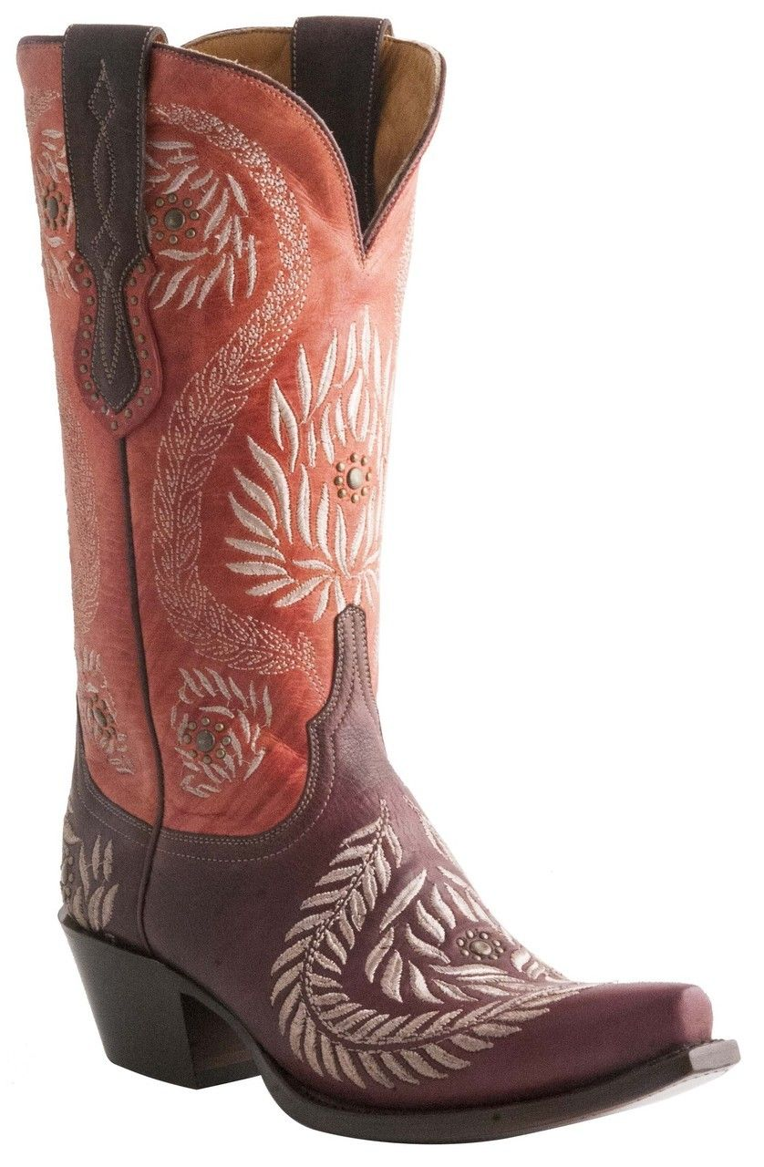 Lucchese Since 1883 Womens Ornament Leaf Julius Caesar Red Wine Embroidered Cowgirl Boots M4837 Cowgirl Boots Boots Red Cowgirl Boots