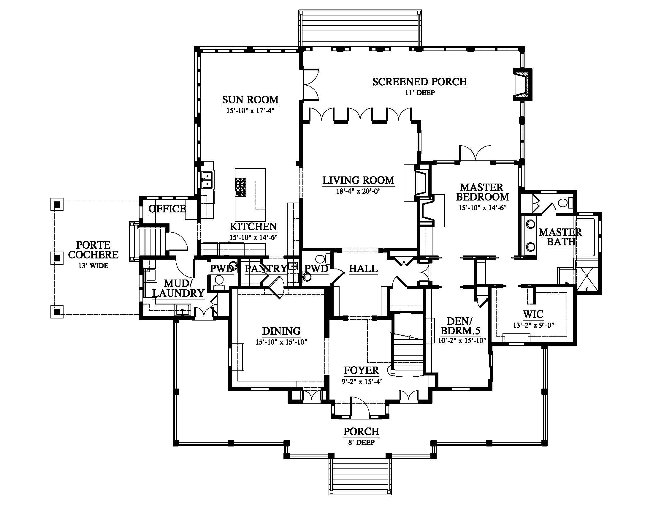 Allison Ramsey Architects | Floorplan for Net Weaver's Place - 3954 square foot house plan # C0548