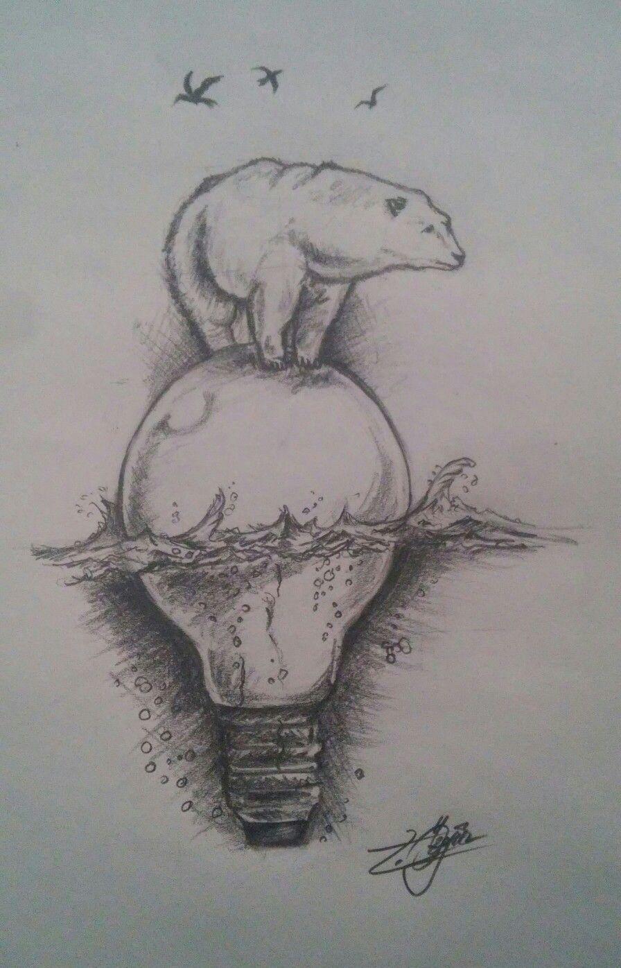 Рисунки карандашом медведь на лампочке