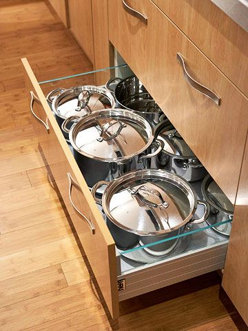Space-Savvy Ways to Store Cooking Equipment   Large drawers ...
