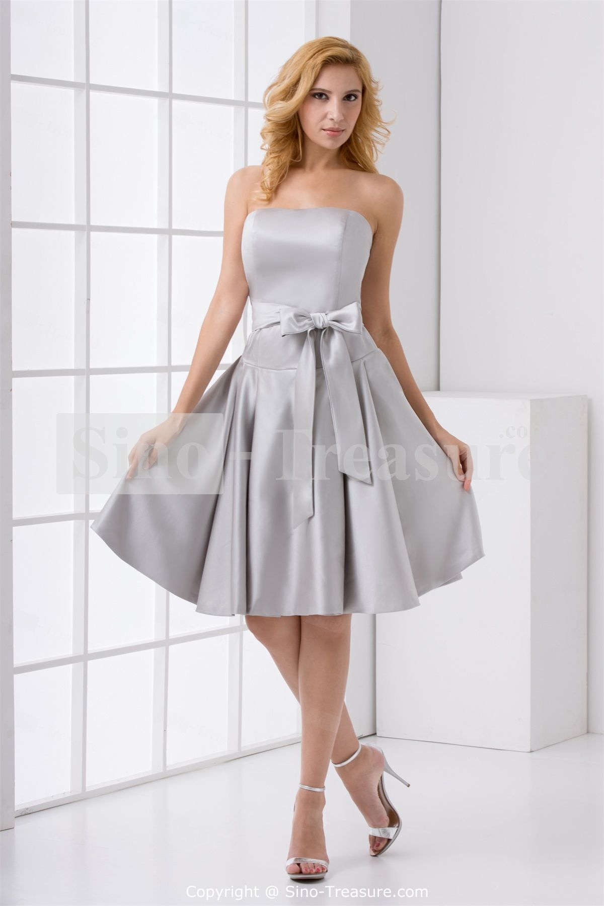 Silver bridesmaid gowns bridal gowns pinterest silver fine a line strapless knee length silver short bridesmaid dress with sashes ombrellifo Images
