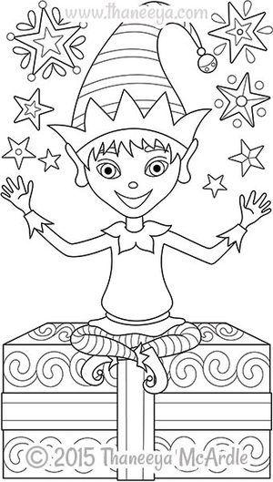 Color Christmas Elf Coloring Page by Thaneeya | Printable Christmas ...