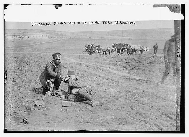 Bulgarian giving water to dying Turk, Adrianople