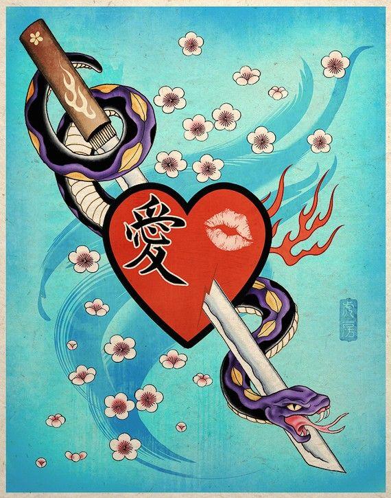 Love Bites Asian Rockabilly Tattoo Art Print by TigerHouseArt, $14.00
