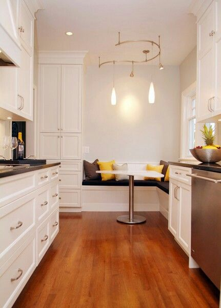 Galley kitchen with breakfast nook kitchens pinterest for Galley kitchen with breakfast nook