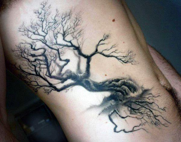 male with spooky oak tree tattoo on torso tats pinterest oak tree tattoo oak tree and tattoo. Black Bedroom Furniture Sets. Home Design Ideas