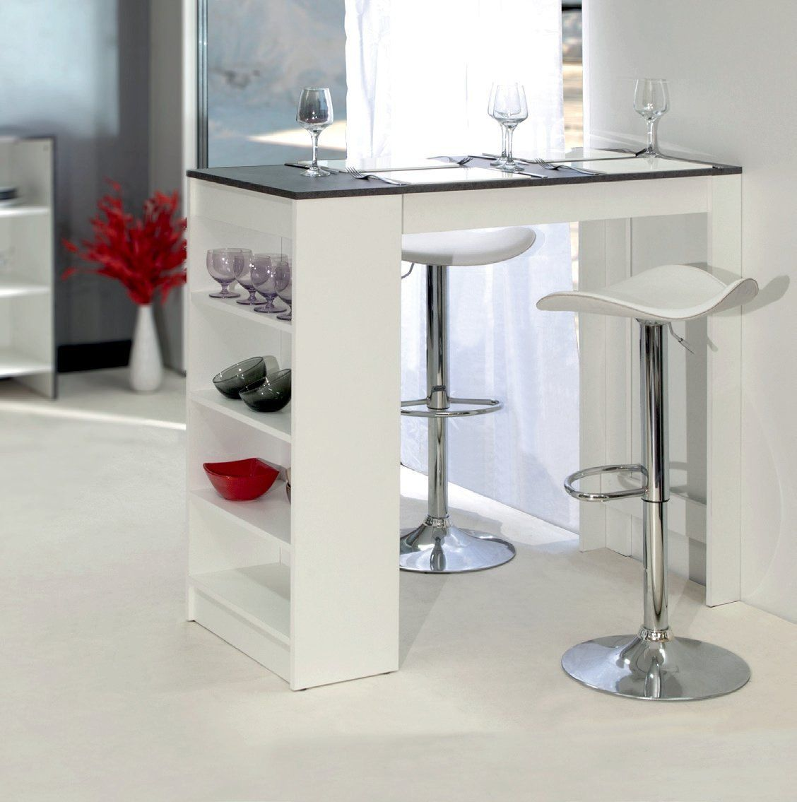 Couchette Olivo White Bar Table With Concrete Top, Made In france ...