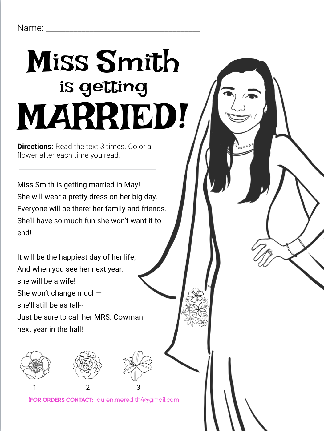 Wedding Ts For Elementary School Teachers A Coloring